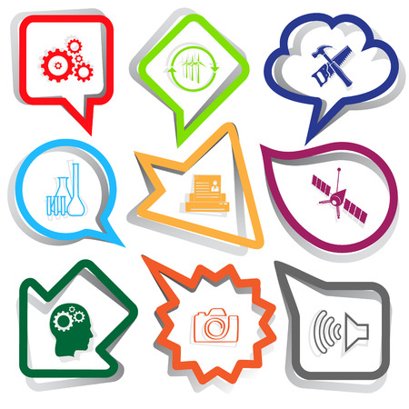photo printer: Tehnology set. Paper stickers. Vector illustration.