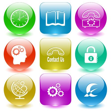glass buttons: Business set. Vector set glass buttons.