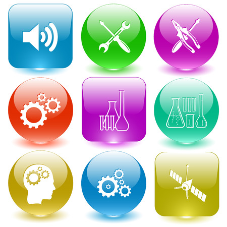 tehnology: Tehnology set. Vector set glass buttons.