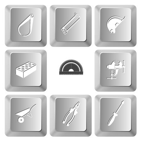 工業用のツール セットです。ベクトルは、コンピューター キーを設定します。