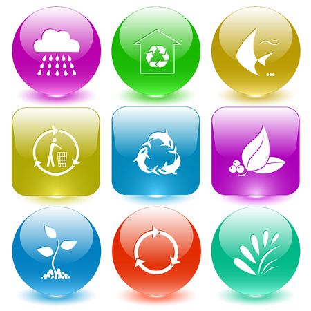 glass buttons: Nature set. Vector set glass buttons. Illustration