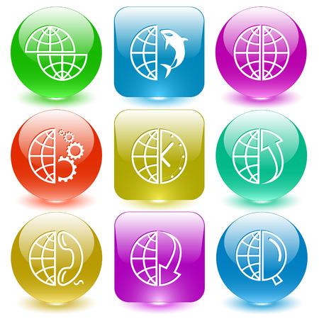 Globe set. Vector set glass buttons. Vector