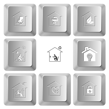 push room: Home set. Vector set computer keys. Illustration