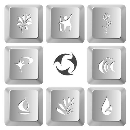 computer keys: Abstract set. Vector set computer keys. Illustration
