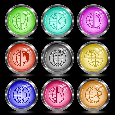 Globe set. Internet button. Vector illustration. Vector