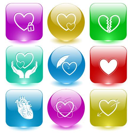 Heart shape set. Vector set glass buttons. Vector