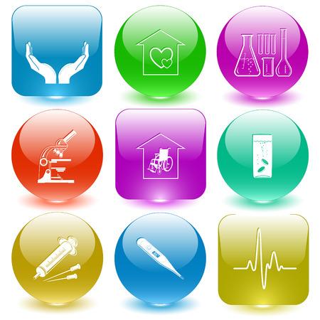 glass buttons: Medical set. Vector set glass buttons. Illustration