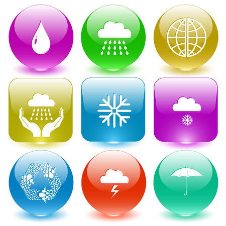 Weather set. Vector set glass buttons.