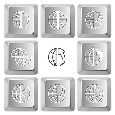 computer keys: Globe set. Vector set computer keys.