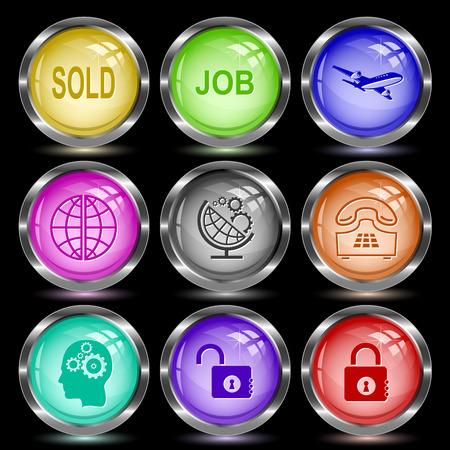 globe  the terrestrial ball: Business set. Internet button. Vector illustration. Illustration
