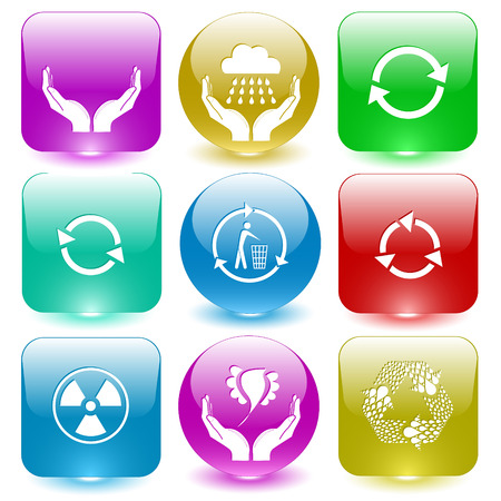 glass buttons: Ecology set. Vector set glass buttons.