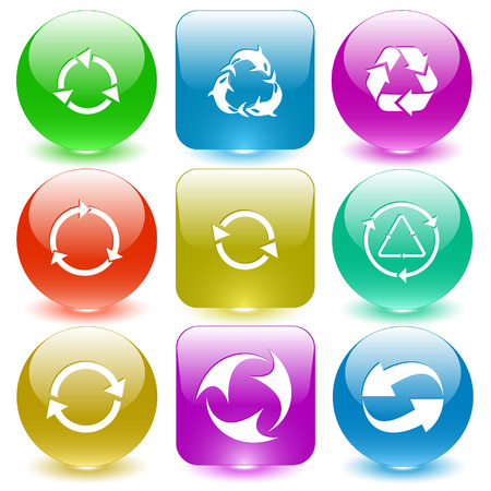 glass buttons: Recycle symbols set. Vector set glass buttons. Illustration