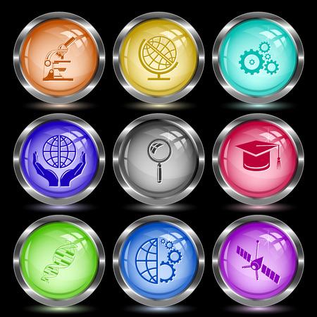 globe  the terrestrial ball: Science set. Internet button. Vector illustration.