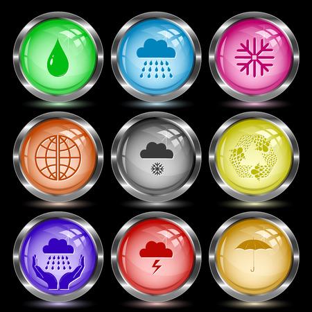 globe  the terrestrial ball: Weather set. Internet button. Vector illustration.