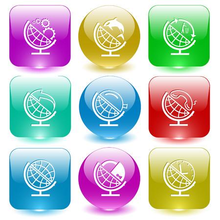glass buttons: School globe set. Vector set glass buttons.