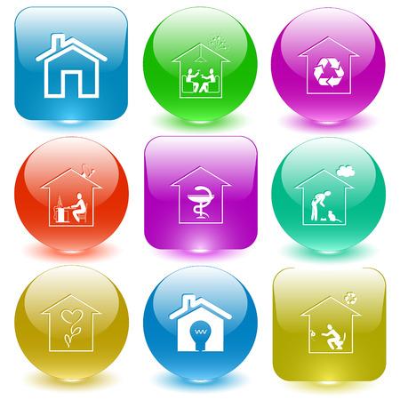 glass buttons: Home set glass buttons.