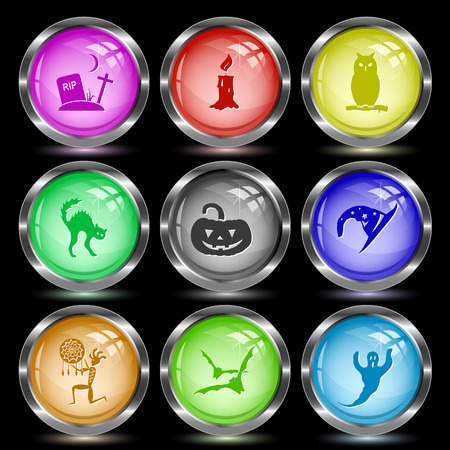 wax glossy: Mystic signs set. Internet button. Vector illustration.