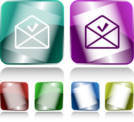 buttons vector: mail ok. Internet buttons. Vector illustration.