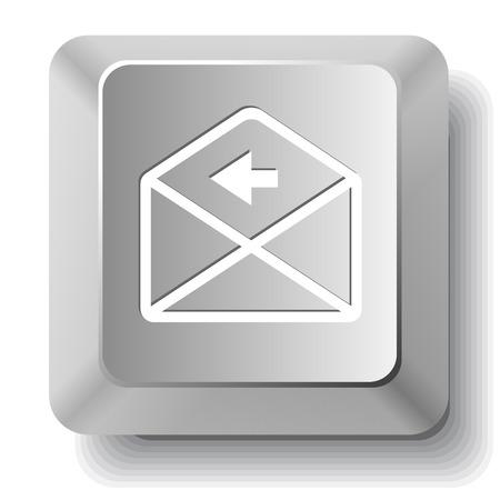 computer key: mail left arrow. Vector computer key. Illustration