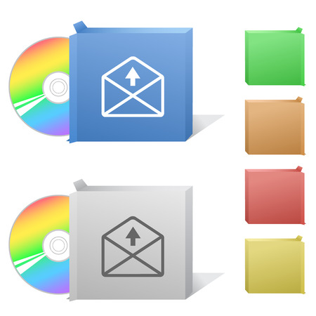 compact disc: mail up arrow. Box with compact disc.