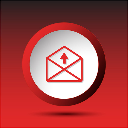 incurved: mail up arrow. Plastic button. Vector illustration. Illustration