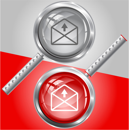 up arrow: mail up arrow. Vector magnifying glass.