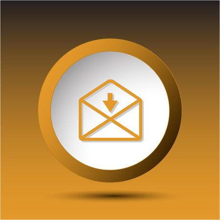 incurved: mail downarrow. Plastic button. Vector illustration. Illustration