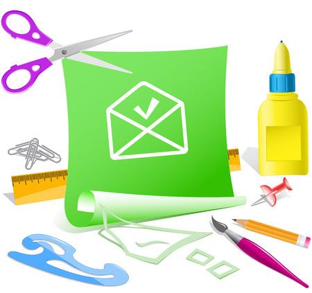 pva: mail ok. Paper template. Vector illustration.