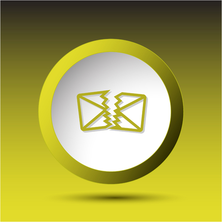 incurved: defective mail. Plastic button. Vector illustration.
