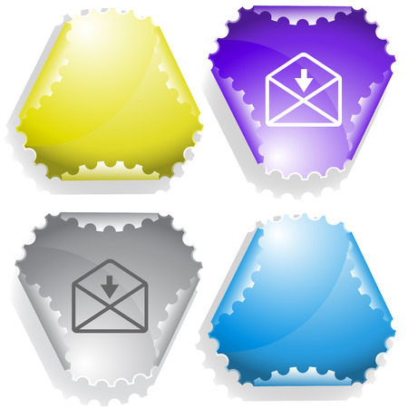 declinate: mail downarrow. Vector sticker.