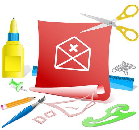 pva: mail cancel. Paper template. Vector illustration. Illustration