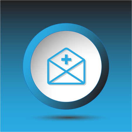 incurved: mail plus. Plastic button. Vector illustration.