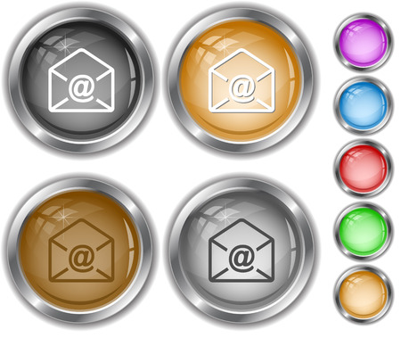 internet buttons: mail at-sign. Internet buttons. Illustration