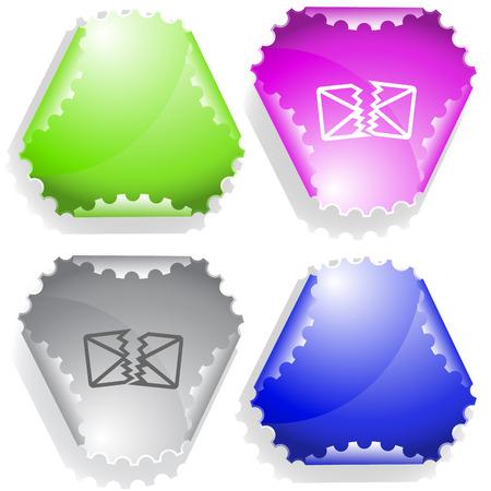 defective mail. Vector sticker.