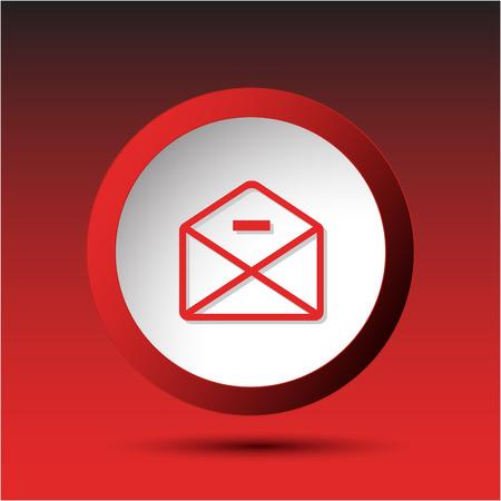 incurved: mail minus. Plastic button. Vector illustration. Illustration