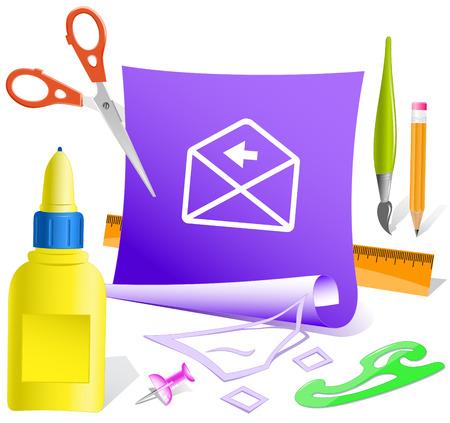 pva: mail left arrow. Paper template. Vector illustration.