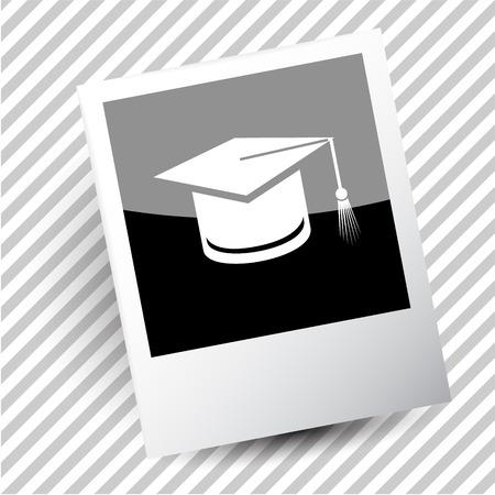 photoframe: graduation cap. Photoframe. Vector icon.