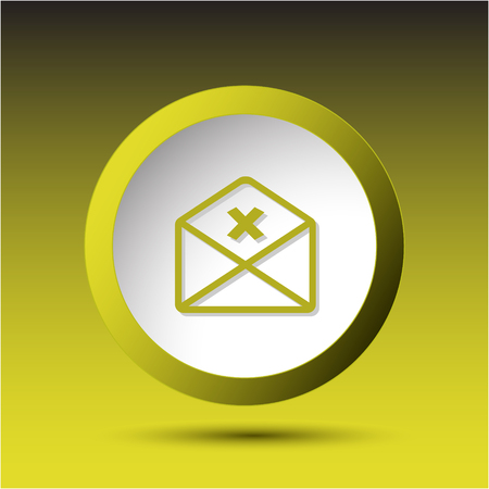 incurved: mail cancel. Plastic button. Vector illustration.