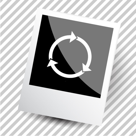 beginnings: recycle symbol. Photoframe. Vector icon.