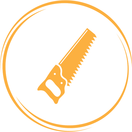 building trade: saw. Internet button. Vector icon. Illustration