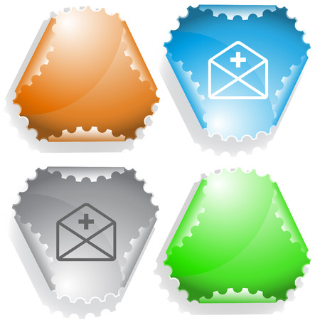 declinate: mail plus. Vector sticker.