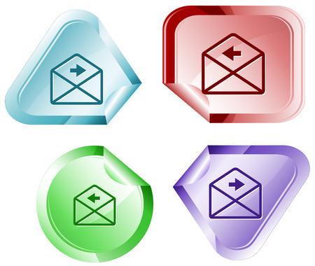 declinate: mail right arrow. Vector sticker.