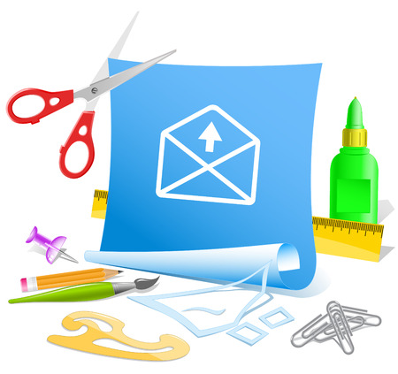 pva: mail up arrow. Paper template. Vector illustration.