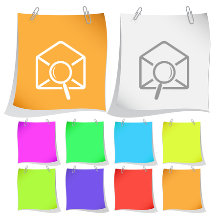 to find: mail find. Vector note papers. Illustration