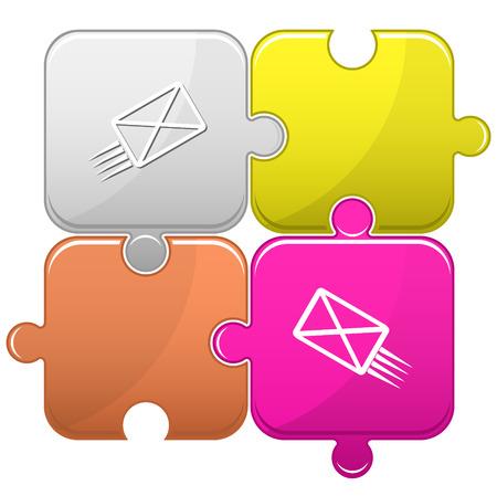 send: send mail. Vector puzzle. Illustration