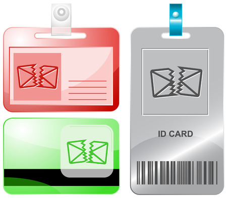 defective: defective mail. Vector id cards. Illustration