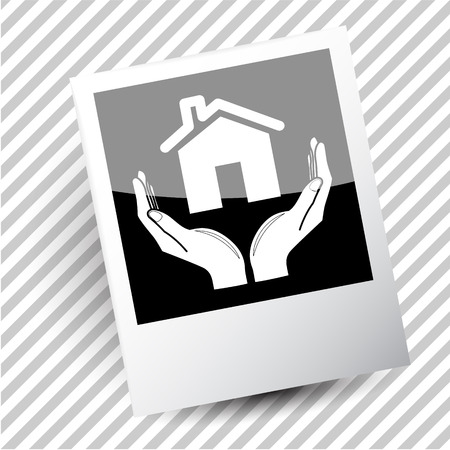 flue: home in hands. Photoframe. Vector icon.