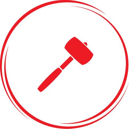 mallet: mallet. Internet button. Vector icon.