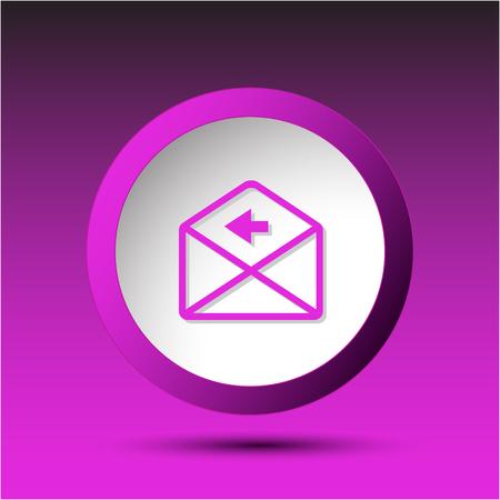 incurved: mail left arrow. Plastic button. Vector illustration. Illustration