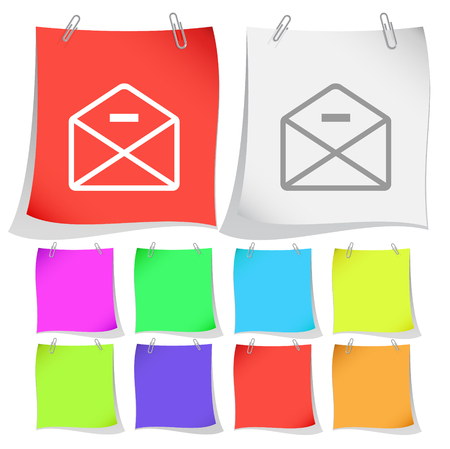 minus: mail minus. Vector note papers. Illustration